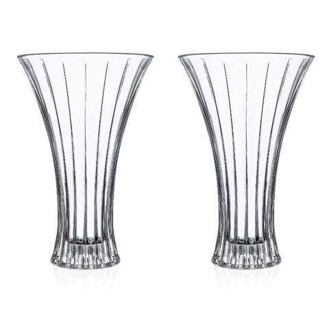2 dekorationsvaser i genomskinlig lyx med dekorerad ekokristall - Senzatempo