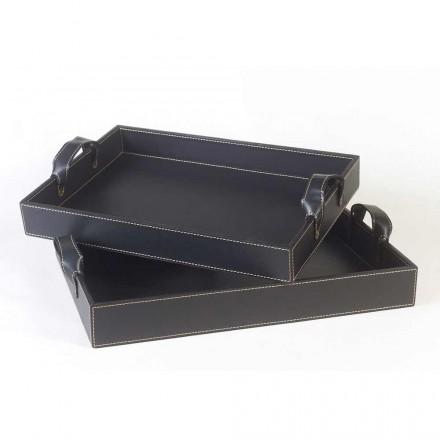 2 svart läder designar fack 41x28x5cm och 45x32x6cm Anastasia