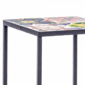 3 fyrkantiga trädgårdsbord i stål med dekorer - förtrollande