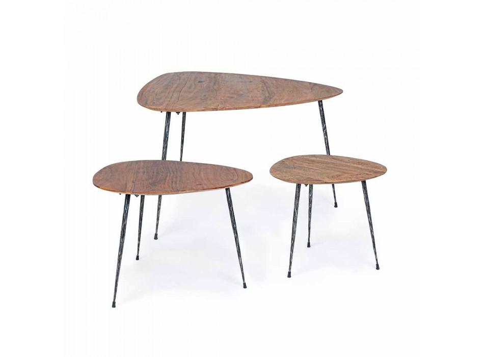 3 moderna kaffebord med Homemotion Mango Wood Top - Kalidi