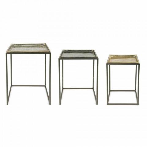 3 fyrkantiga kaffebord i aluminium och stål Homemotion - Quinzio