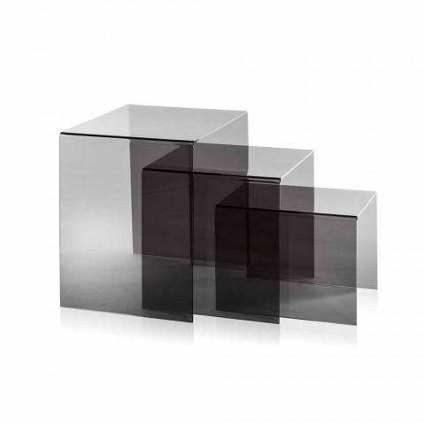 3 häckande soffbord rökt Amalia, modern design, tillverkad i Italien