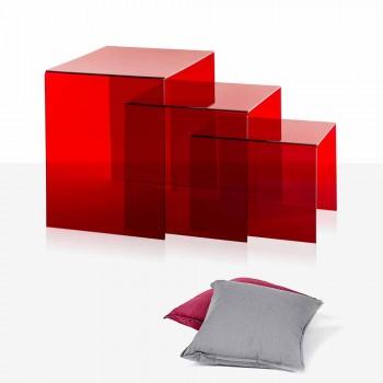 3 röda stapel tabeller Amalia, modern design, tillverkad i Italien