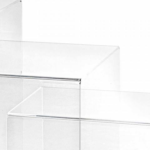 3 transparenta stapel tabeller Amalia design, tillverkad i Italien