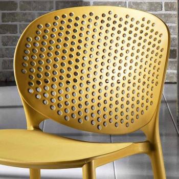 4 färgade stapelbara stolar av polypropen i modern design - Pocahontas