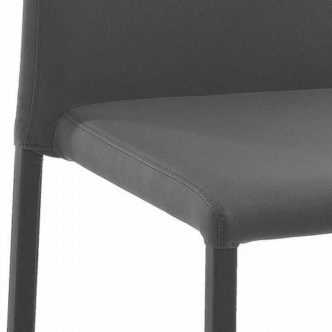 4 eleganta stolar i modern design i färgad ekoläder för vardagsrum - Grenger