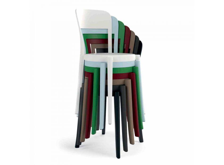 4 Stapelbara polypropylenstolar utomhus tillverkade i Italien Design - Alexus