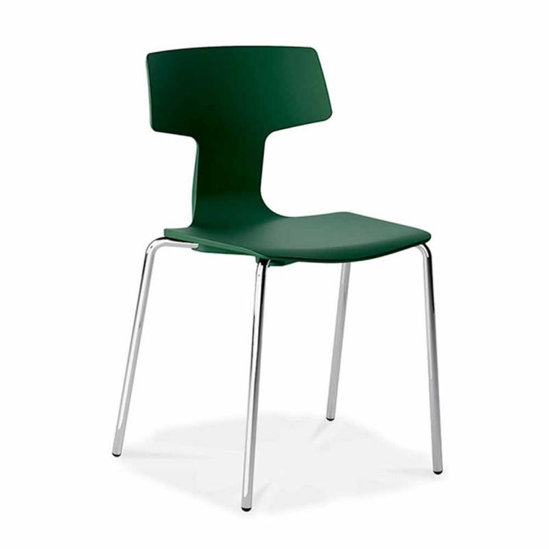 4 stapelbara stolar i metall och polypropen tillverkad i Italien - Clarinda