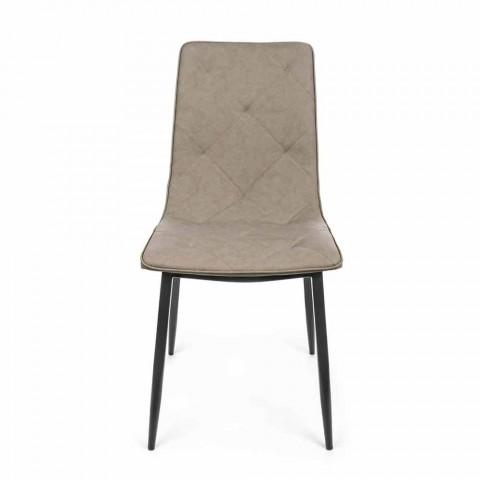 4 moderna stolar täckta i konstläder med stålbotten Homemotion - Daisa