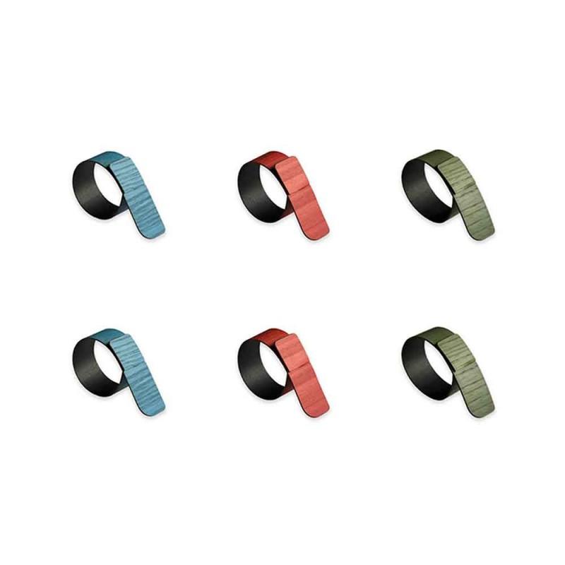 6 Servettringar i olika färger tillverkade i Italien - Potta