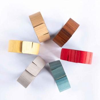 6 Servettringar i modernt trä och tyg tillverkade i Italien - Potta