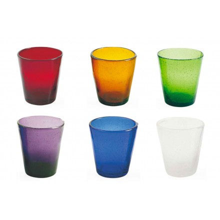 12 Glass Water Craft Service av färgat blåst glas - Yucatan