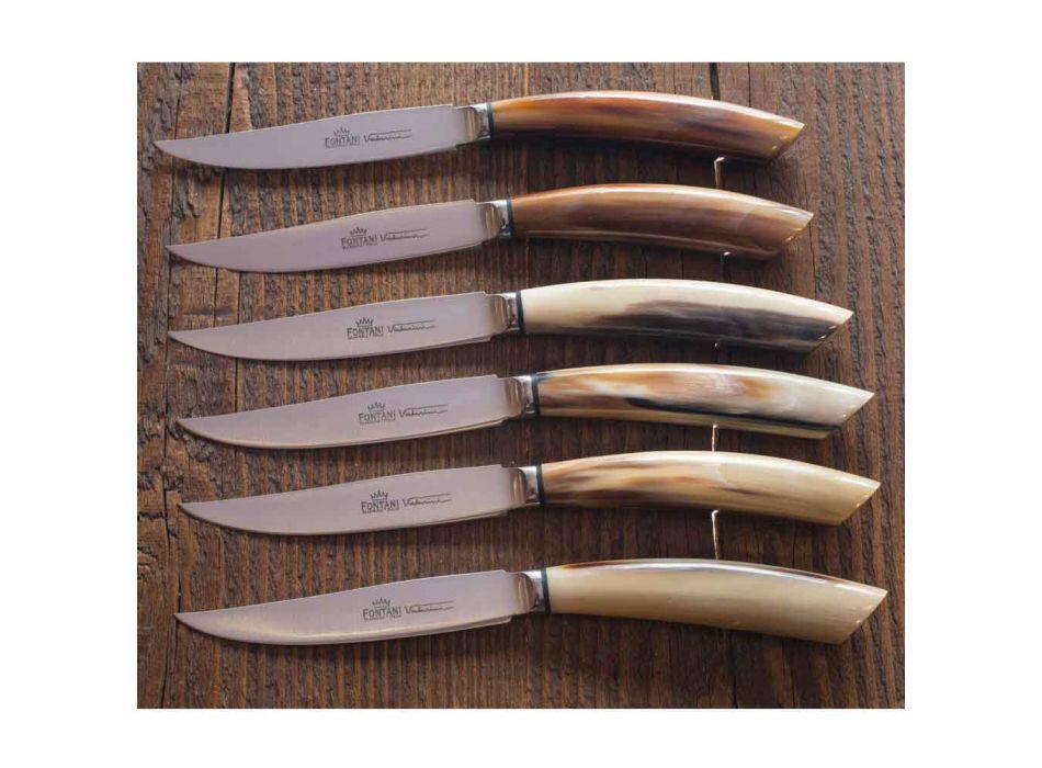 6 hantverkskökknivar med oxhornhornhandtag tillverkat i Italien - marint