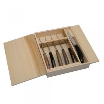 6 hantverkskökknivar med oxhornhornhandtag tillverkat i Italien - Marino