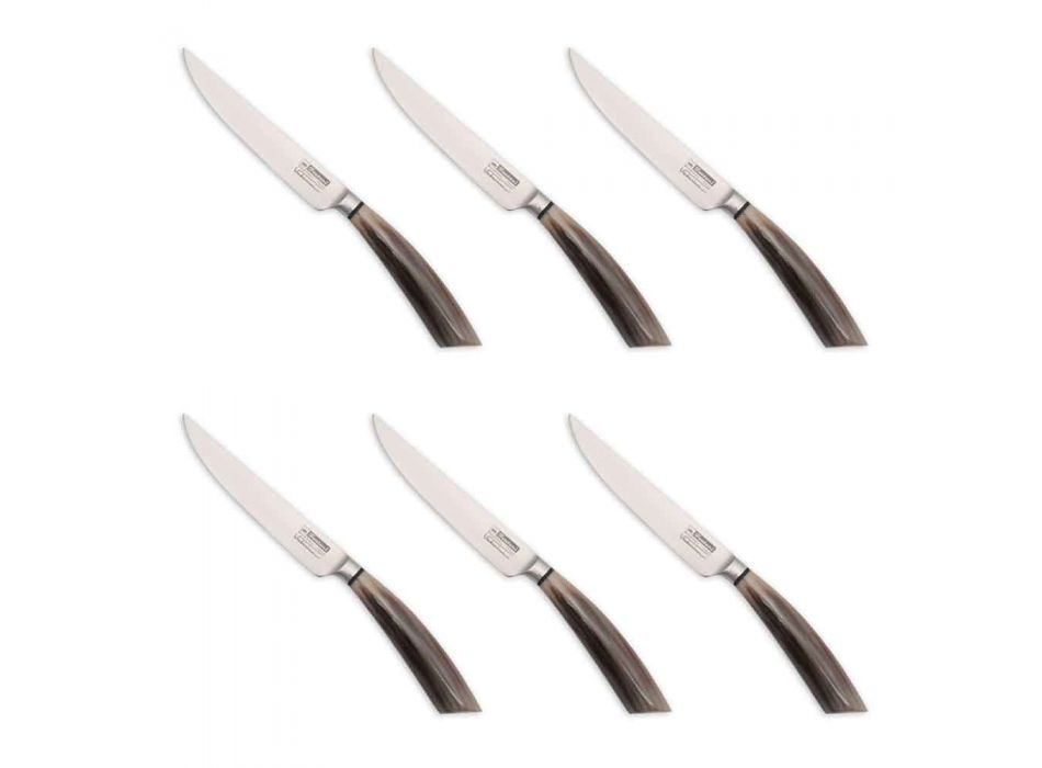 6 handgjorda biffknivar i horn eller trä tillverkade i Italien - Zuzana