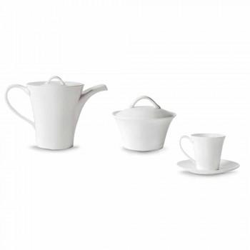 6 kaffekoppar av porslin med tallrik, kaffekanna och sockerskål - Romilda