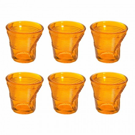 12 kaffekoppar skrynkligt färgat designglas - Sarabi