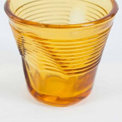 6 kaffekoppar skrynkliga glas i färgat designglas - Sarabi