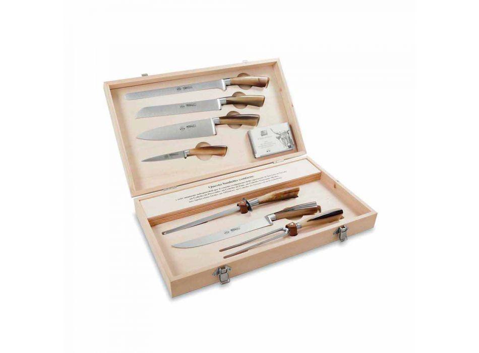 7 Bordsknivar i rostfritt stål Berti exklusivt för Viadurini - Sanzio