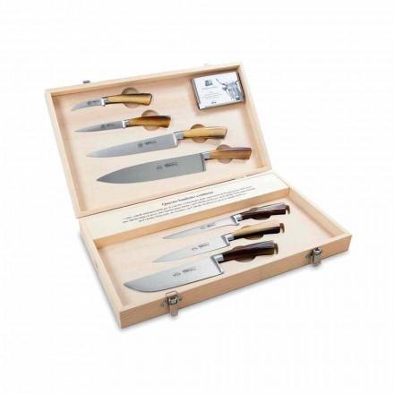 7 italienska rostfria knivar, Berti exklusivt för Viadurini - Goya