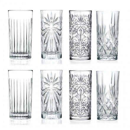 8 Highball Tumbler Tall Glasses för cocktail i Eco Crystal - Malgioglio