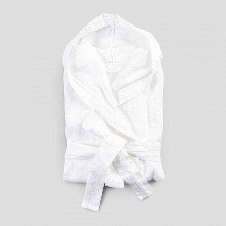 Vit badrock med kraftig linne med italiensk lyxkåpa - Palace