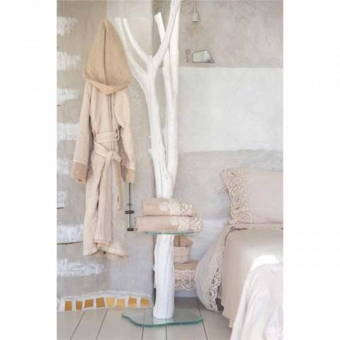Vändbar morgonrock med Beige frotté och linne med huva - Mirandola