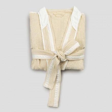 Lyxig Kimono-badrock i linne och bomull, 2 ytor tillverkade i Italien - Kleone
