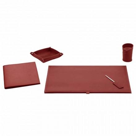 Kontortillbehör för skrivbord i limt läder, 5 delar - Aristoteles