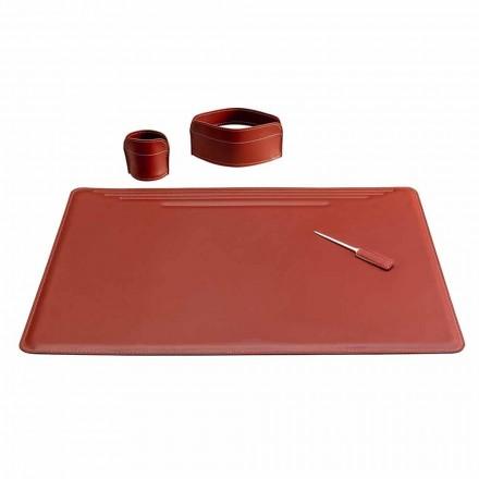 Tillbehör för kontorsskrivbord i läder, 4 delar, tillverkad i Italien - Ebe