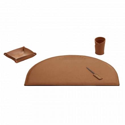 Kontortillbehör för skrivbord i regenererat läder, tillverkat i Italien - Medea