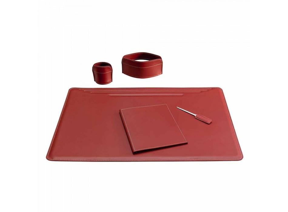 Skrivbordstillbehör i regenererat läder 5 delar tillverkade i Italien - Ebe