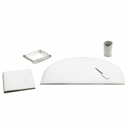 Uppsättning av 5 tillbehör till skrivbord i läder, tillverkad i Italien - Medea