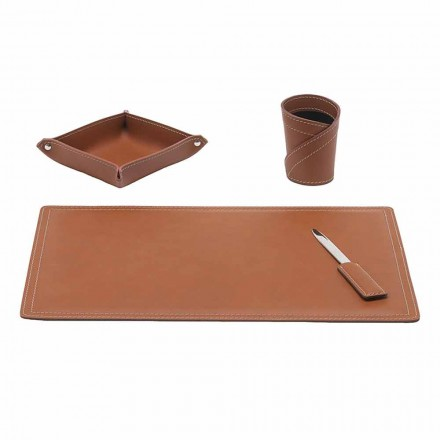 Tillbehör Regenerated Leather Desk, 4 delar, tillverkad i Italien - Ascanio