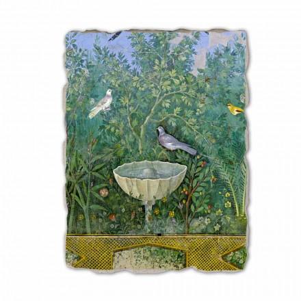 """Roman fresco """"Trädgård med Hermes och Fontana"""" särskilt"""