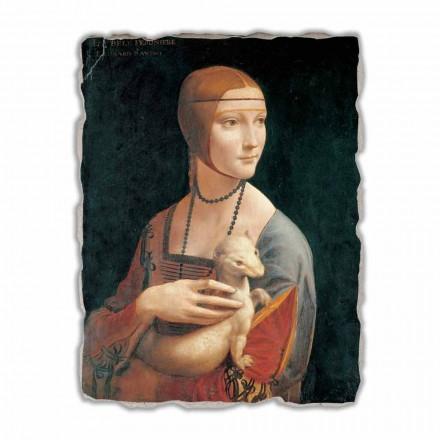 """stor fresk av Leonardo da Vincis """"Damen med hermelinen"""""""