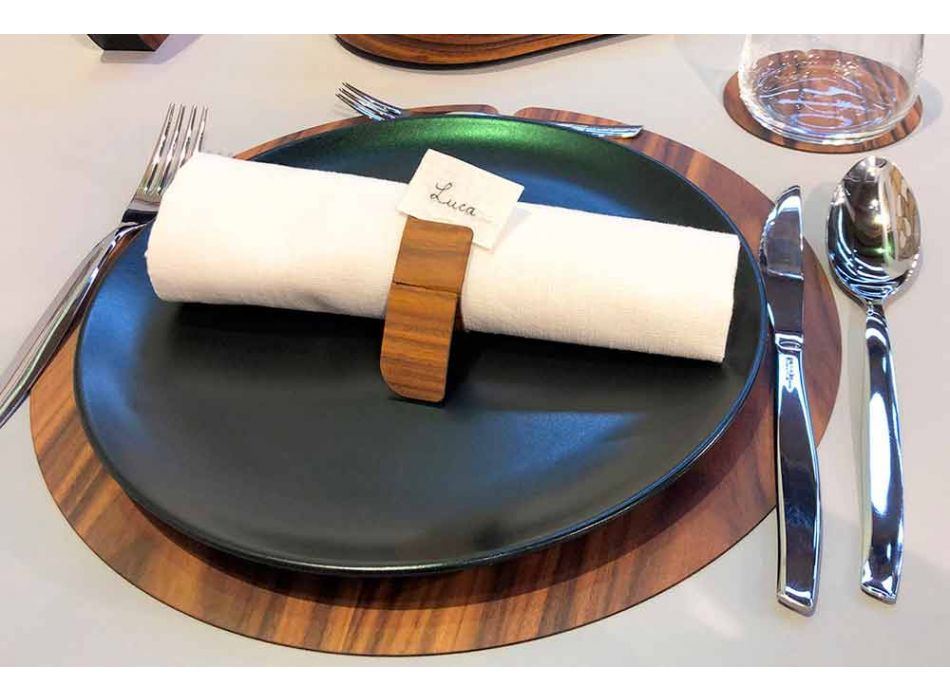 Trä servettring av modern design tillverkad i Italien - Stan
