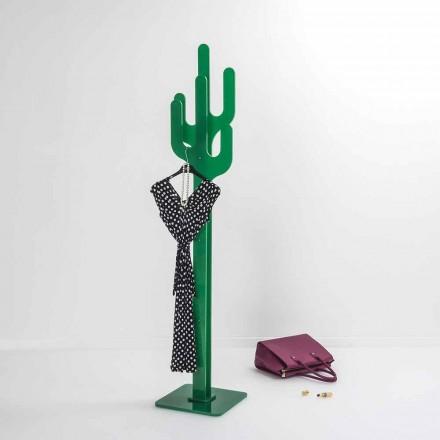 Klädhängare grön kaktus modern design, tillverkad i Italien