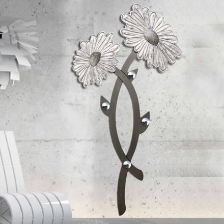 Handdekorerad väggkrok i silver Clarke design