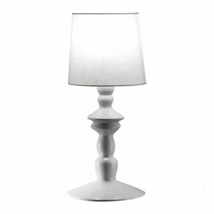 Vägglampa i målbar keramik och lampskärm i vitt linne - Cadabra