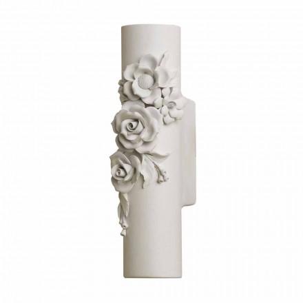 Vägglampa i matt vit keramik med dekorativa blommor - Revolution