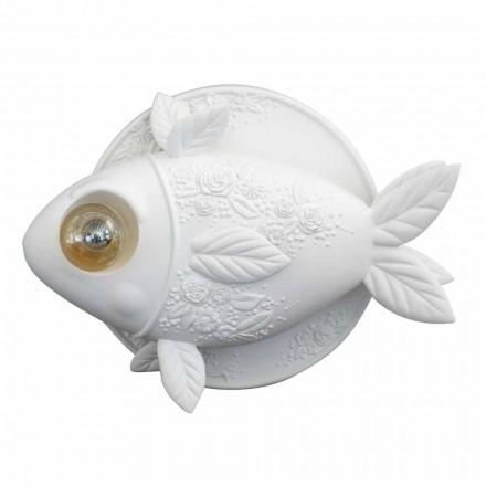 Vägglampa i matt vit keramisk design med dekorerad fisk - fisk