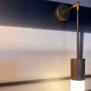 Artisan vägglampa i aluminium och satinglas Made in Italy - Master