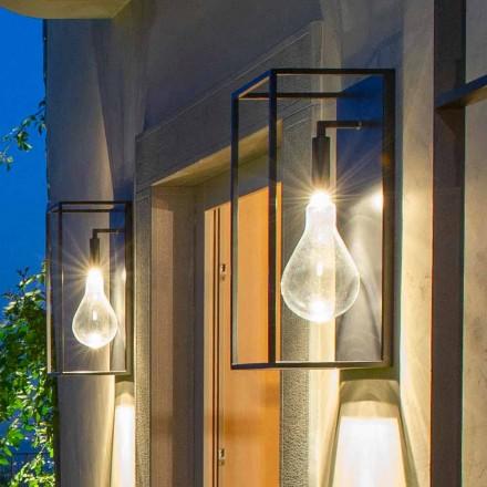 Utomhusjärnvägglampa med varmt LED-ljus och glas tillverkat i Italien - Falda