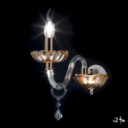 Vägglampa klassiker i kristall och glas Fine, 2 st