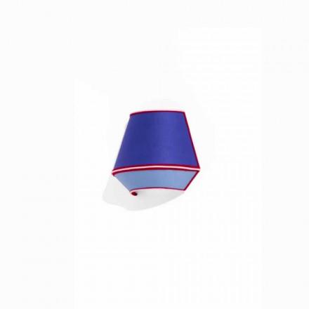 Designapplikation i blå bomull med röda och vita detaljer Made in Italy - Soya
