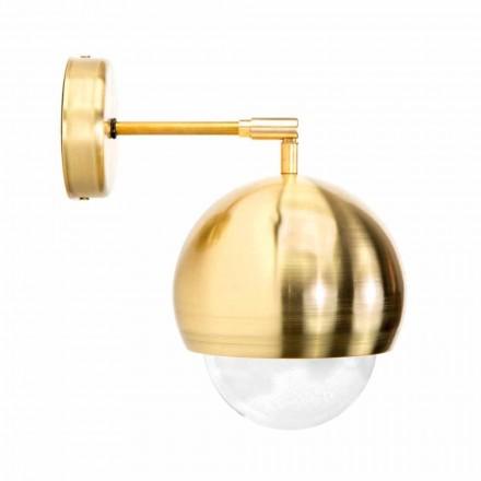 Vägglampa i borstat mässing och handgjordt glas tillverkat i Italien - Gandia