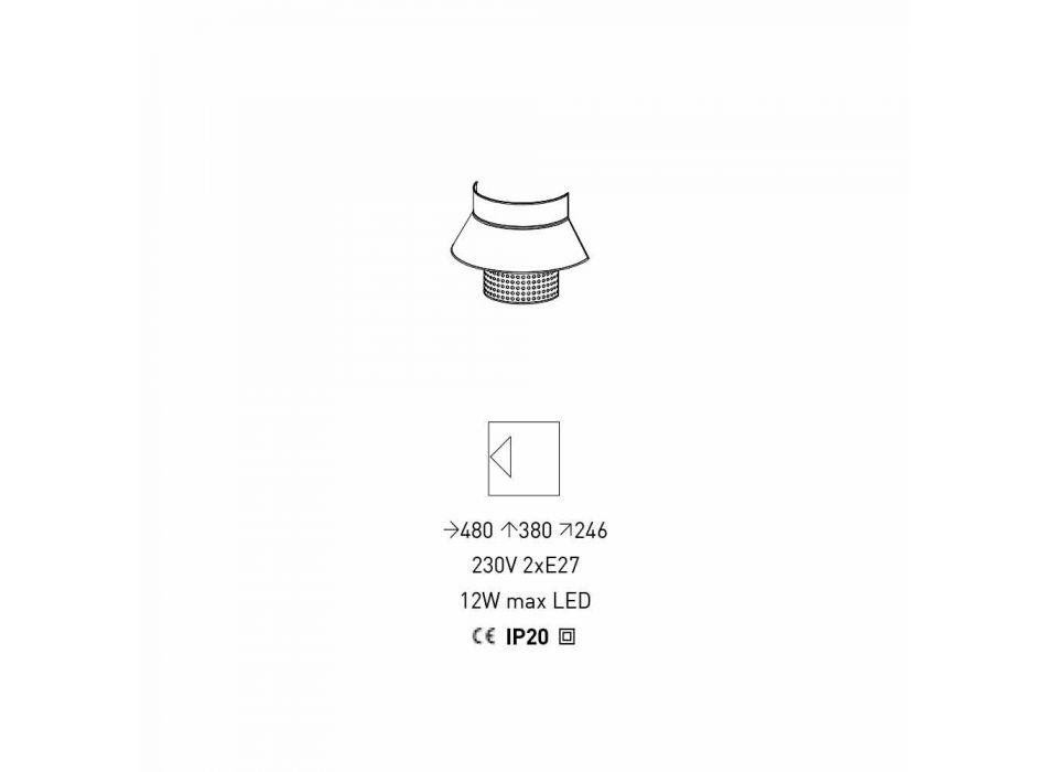 Applikation i vitt och grått tyg och rottingdesign tillverkad i Italien - sjöman