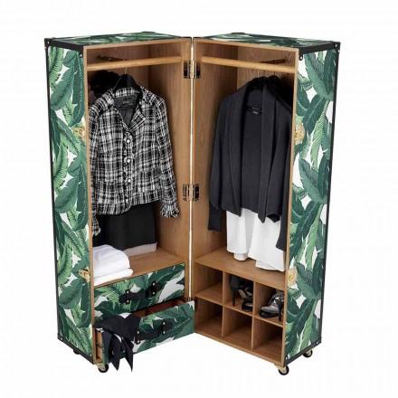 Modern garderob med hjul i Mdf, fanerat trä och tyg - Amazonia