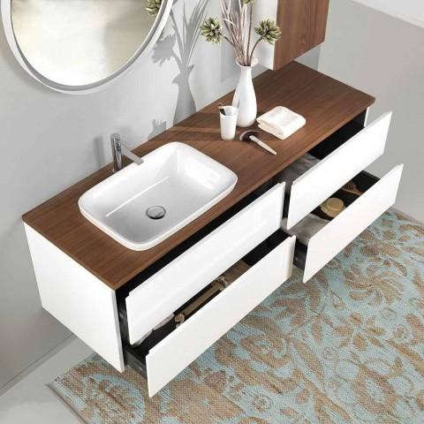 Badrumsmöbler i vitt och valnött trä med handfat, vägg och spegel - Renga
